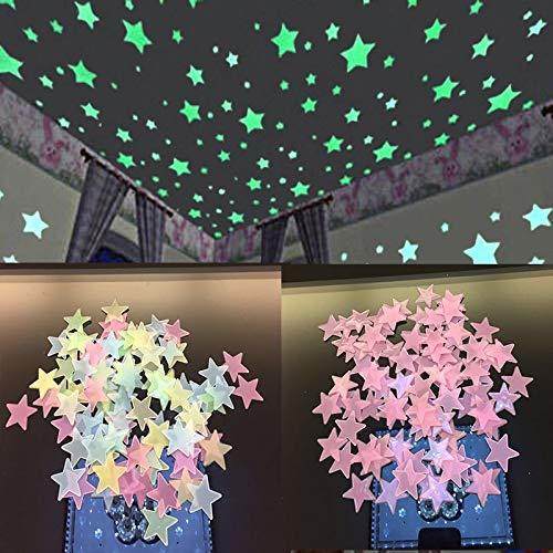 CJJCJJ Wandaufkleber 100 PCStern-Glühen-Wand-Aufkleber Stern-leuchtendes leuchtendes Glühen 3D Aufkleber Kind-Schlafzimmer-Leuchtstoff-Glühen im Dunkeln