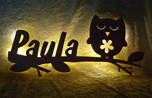 Schlummerlicht24 Led Holz Möbel Zimmer-Einrichtung Wand-Lampe Eule Samantha Nachtlicht Geschenk mit Name-n individuell Geburtstag-sgeschenk Mädchen Junge-n Frauen-Geschenke Dekoration Baby-Zimmer