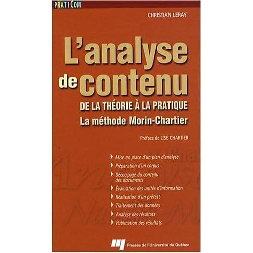 L'analyse de contenu : De la théorie à la pratique, la méthode Morin-Chartier