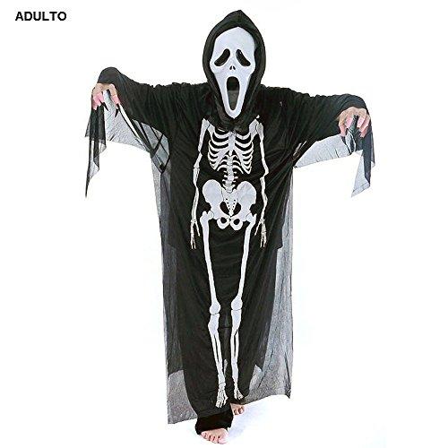 te ♛ M / L - Größe Eine - Set Kostüm Verkleidung Karneval und Halloween von Scream Monster Mörderin Farbe Schwarz Tunika Maske Erwachsene Unisex Frau Mann Jungs (Monster Kostüme Ideen Für Erwachsene)