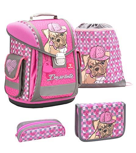 Belmil ergonomischer Schulranzen Groß Set 4-teilig für Mädchen 1, 2, 3, Klasse/Leicht: 950-1000 g/rosa Welpe, Hund, Dog, Puppy (404-5 I am so Cute)