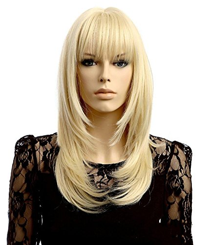 Lange gerade blonde Farben-Perücke mit Pony Cosplay volle Perücken Hochtemperatur-Faser-Haar für Frauen