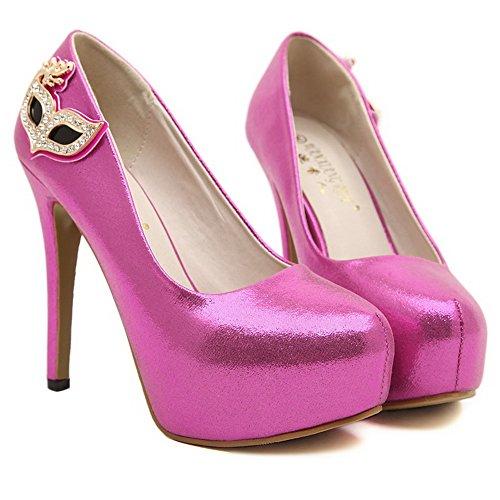 AgooLar Damen Hoher Absatz Rein Ziehen Auf Weiches Material Rund Zehe Pumps Schuhe Rosa