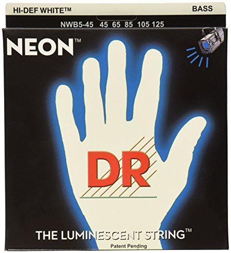 DR Strings - farbige Bass Saiten - white - 5-saiter, 045-125