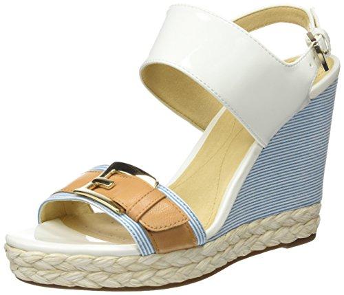 Geox donna janira e, sandali con zeppa, bianco (white/caramel), 39 eu