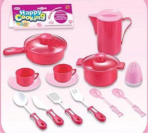 Kids Cooking Chef Kitchen Playset Toys | Cups | Plates | Spatula Knife Fork Spoon | Pan | Pot | Jug | Salt Shaker | Tableware Appliances Pretend Play Set