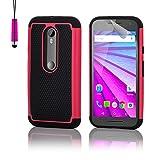 32nd® Funda rígida de Alta Protección para Motorola Moto G 3 (3. Generacion, 2015), incluye protector de pantalla, paño de limpieza y lápiz optico - Rosa