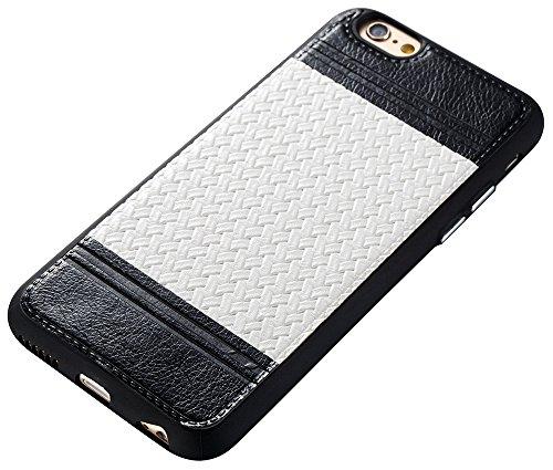 Iphone 6S Coque,Iphone 6S Case,Iphone 6 Coque,Iphone 6 Case, Nnopbeclik® Lignes de tissage Style Backcover Doux Soft Silicone Antichoc Housse Coque Iphone 6S,Coque Iphone 6 (4.7 Pouces) Protection Ant noir+blanc
