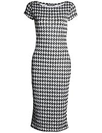 Fast Fashion - Robe Cap Des Manches Léopard Rose Crâne Imprimée Bodycon Midi - Femmes