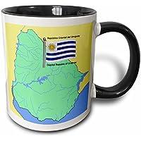 3dRose mug 51737 _ 4 mapa y bandera de Uruguay con la República Oriental de Uruguay