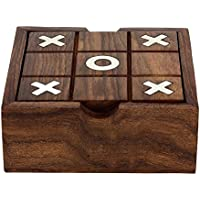 Royal Handicrafts 2 in 1 Wooden Game Set Tic Tac Toe Solitaire Board Marble