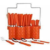 Kartavya Multi Orange Color 24-Piece Cutlery Set With 1 Stand, 4 Different Type Of Spoons