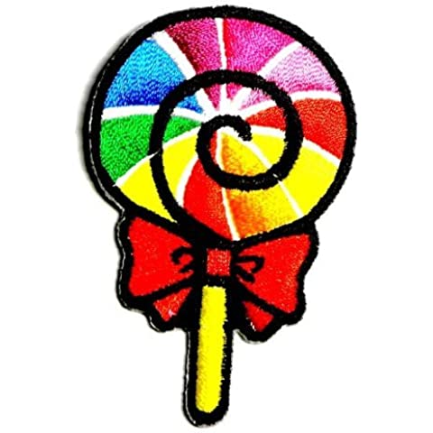 Rainbow Fancy Sweet Lollipop Candy Kid Appliques Hat Cap Polo Backpack Clothing Jacket Shirt DIY Embroidered Iron On / Sew On Patch by BKKPatch