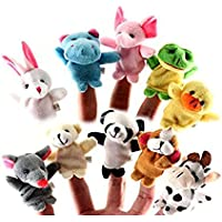 Lumanuby 10 pcs dedo juguetes Tiny granja suave gamuza de marioneta de dedo juguete Animal de