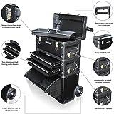 US PRO TOOLS negro centro de trabajo móvil de acero plástico Rolling carrito de pecho con armario 3en 1caja de herramientas ruedas