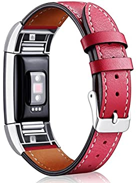 Ouneed Für Fitbit Charge 2 Leder Armband, Unisex Ersatz Band für Fitbit Charge 2 mit Metall Connectors