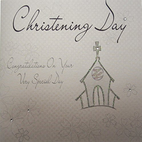 WHITE COTTON CARDS  1-Piece Christening Day Congratulations on Your Very Special Handmade Card, Silver Church