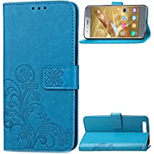 Custodia a portafoglio per Sony Xperia XZ Premium, in ecopelle e con stampa floreale, con cinturino da polso, Blue, Huawei Honor 9