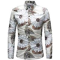 WULIFANG Camisas De Hombres Flor Grande Suave Imprimir Manga Larga Camiseta Slim Casual De Negocios De Casual De Hombres Camiseta Hawaiana Impresión De Flores M
