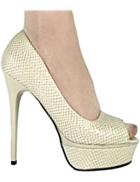 Damen High Heel Peeptoe Plateau Pumps 10308