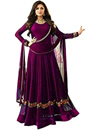 Bipolar Life Women's Special Party Wear Purple Color Faux Georgette Embroidery And Diamond Work Party Wear Semi...
