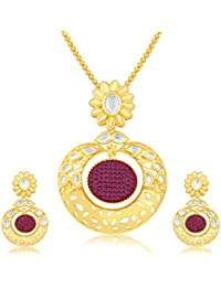 Sukkhi Stunning Invisible Setting Gold Plated Pendant Set For Women