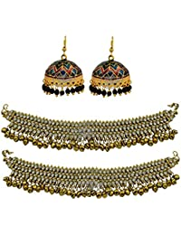 High Trendz Combo Of Traditional Meenakari Jhumki With Ethnic Gold Plated Anklets With Ghungroos For Women & Girls