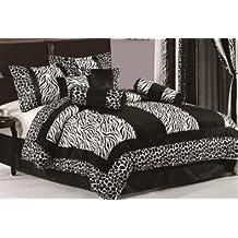 7piezas negro y blanco Zebra de piel de Micro con jirafa diseño colcha cama en bolsa