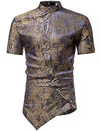 Ears Männer Frühling Irraguler Slim Fit Kurzarm Printed Muscle T-Shirt Top  Bluse Geschäfts- 2b0f6f3d27