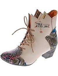 94f12c6c08 Damen Stiefeletten echt Leder Stiefel Muster variieren Comfort Schuhe TMA  7707 Boots 36 - 42