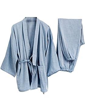 Trajes de estilo japonés de los hombres Traje de pijama de algodón puro Kimono pijama Set-B