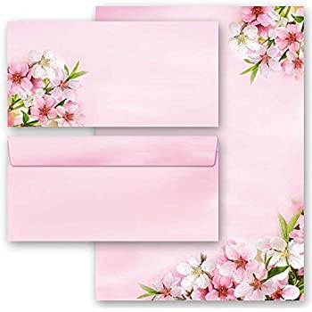 10 passende Briefumschl/äge DIN LANG ohne Fenster 20-tlg Briefpapier Komplett-Set TULPEN-BOX 10 Blatt Briefpapier