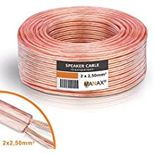 MANAX® cable del altavoz 2 x 2,50 mm² 100 m transparente bobina