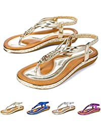 9ac2a65856a49 Socofy Women s Flat Sandals Summer Clip Toe Flip Flops Thongs Bohemian  Style Beach Shoes with Wedge