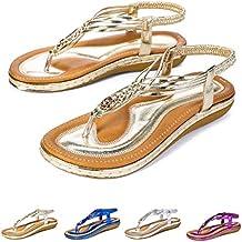 ab20d55f85a6b gracosy Sandalias Planas Verano Mujer Estilo Bohemia Zapatos de Dedo  Sandalias Talla Grande Cinta Elástica Casuales