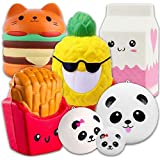 Squishies Lenta Creciente Lindo Grande Squishy Juguetes 7 Paquetes - Hamburguesa Piña Leche Fritas + 3 Pandas, APzek Soft Stress Reliever Toys Squeeze Juguetes para Niños y Adultos