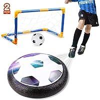 amzdeal Air Football Kit Juguete Balón de Fútbol(1 x Air Hover Ball+1 Mini Soccer +1 Goal de Fútbol +1 Aguja de Gas) Aire Fútbol para Actividades Interiores o Exteriores con Luz LED y música (2 Goal)