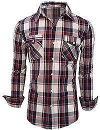 Newfacelook Hommes Mince Mincissent les Chemises Habillées Slim Fit À Carreaux