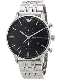 Emporio Armani AR0389 - Reloj cronógrafo de cuarzo para hombre, correa de acero inoxidable color plateado