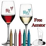 Hollywood Heights Marcatori di vetro per vino - cancellabili penne di bellissimi colori metallici Set 5Pk. Alternativa al fascino del vino