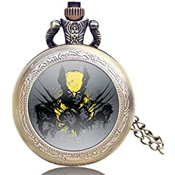 "XMEN Wolverine Antique Bronze Effect Retro/Vintage Case Men's Quartz Pocket Watch Necklace - On 32"" Inch / 80cm Chain"