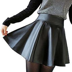 Culater® Las mujeres de cintura alta evasé plisada Corto Minifalda (S)
