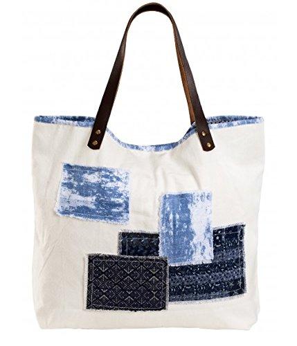 Canvastasche BLUE JEANS - Starndtasche mit Jeansflicken - Shopper