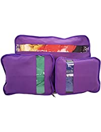 PURPLE : SET OF 3 SUITCASE ORGANISER BAG PACKERS TIDY CASE LUGGAGE PACKING TRAVEL CUBES (PURPLE)