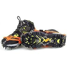 Docooler 12 Dientes Garras Crampones Antideslizantes Zapatos Cubren Acero Inoxidable Cadena Nieve de Hielo al Aire Libre de Esquí Senderismo Escalada