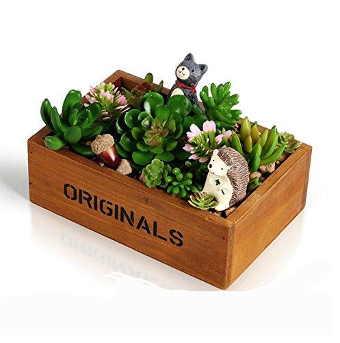 e-meoly de madera caja de ventana de jardín rústico rectangular ...