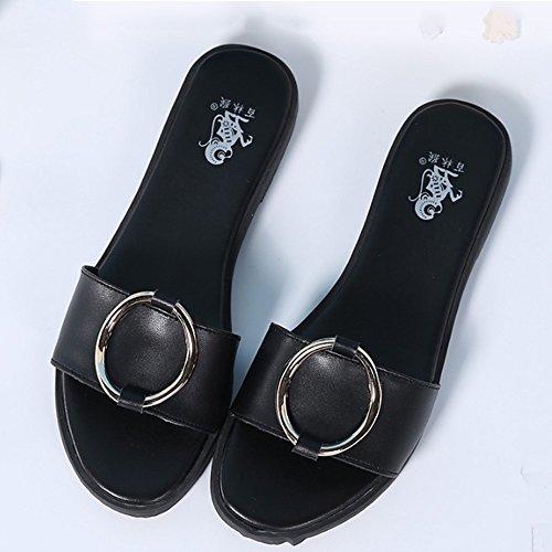 Confortevole Pantofole piane estive Pantofole floppy di cuoio Sandali sottili casuali esterni del pantofole femminili (2 colori opzionali) (formato opzionale) È aumentato ( Colore : B , dimensioni : E B