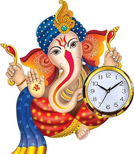Lord Ganesha Analog Wall Clock for Home/Kitchen/Living Room/Offices/Drawing Room by KK Craft