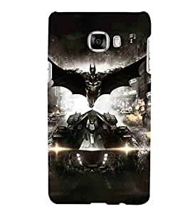 For Samsung Galaxy C7 SM-C7000 flying man, suit man, man, building, car, super car Designer Printed High Quality Smooth Matte Protective Mobile Case Back Pouch Cover by APEX