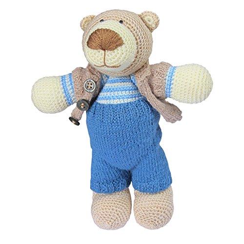 djo Kleiner Teddybär Gehäkelt Cooles Kuscheltier Zum Schlafen Blau 20cm ()